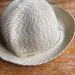 Nine West Gold Metallic Cream Woven Beach Fedora